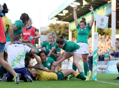 2017 Women's Rugby World Cup Pool C, UCD Bowl. Ireland's Sophie Spence scores their third try. Photo: INPHO/Dan Sheridan