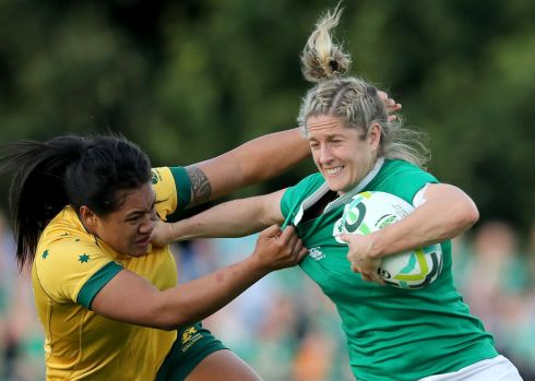 2017 Women's Rugby World Cup Pool C, UCD Bowl. Ireland's Alison Miller with Kayla Sauvao of Australia Photo: INPHO/Dan Sheridan