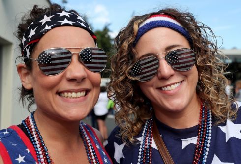 2017 Women's Rugby World Cup Pool B, UCD Bowl USA fans Malissa Boyle and Emily Ramsey Photo: INPHO