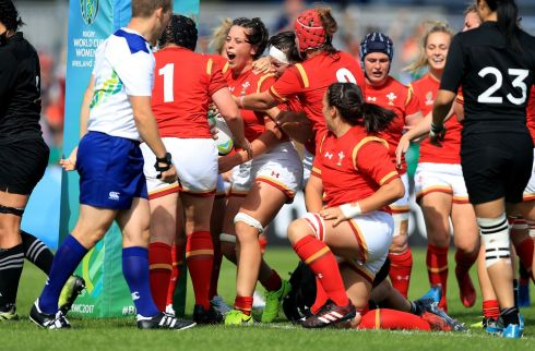 Wales' Sinoed Harries celebrates scoring a try during the 2017 Women's Rugby World Cup, Pool A match at Billings Park, Dublin. Photo.: Donall Farmer/PA Wire.