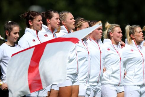 2017 Women's Rugby World Cup Pool B, UCD Bowl, The England team during the national anthem Photo: INPHO/Bryan Keane