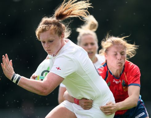 England's Harriet Millar-Mills and Spain's Vanesa Rial during the 2017 Women's Rugby World Cup, Pool B match at the UCD Bowl, Dublin. Photo Brian Lawless/PA Wire.