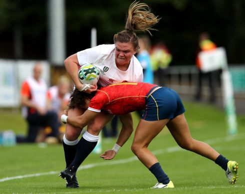 Sarah Bern of England is tackled by Iera Echebarria of Spain during the Women's Rugby World Cup 2017 match between England and Spain on August 9, 2017 in Dublin, Ireland.  Photo by David Rogers/Getty Images