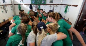 The Ireland team in a huddle before the   World Cup pool C game against Australia at UCD Bowl. Photograph:  INPHO/Dan Sheridan