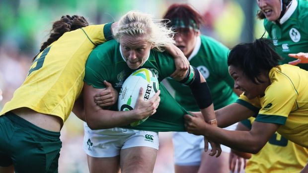 Ireland's Claire Molloy during her side's opening World Cup win over Australia. Photograph: Brian Lawless/PA