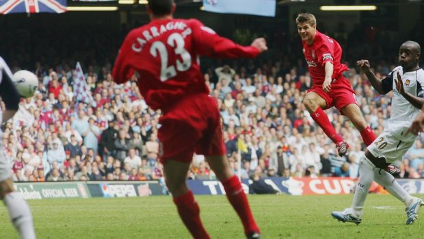 Steven Gerrard rescues Liverpool with a goal from nothing in the 2006 FA Cup final. Photograph: Getty Images