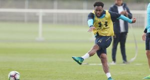 Danny Rose during Tottenham training ahead of the new season. Photograph: Getty Images