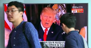 "President Donald Trump issued an apocalyptic warning to North Korea on Tuesday, saying it faces ""fire and fury"" over its missile program, after US media reported Pyongyang has successfully miniaturized a nuclear warhead. Photogrgaph: AFP/Jung Yeon-Je"