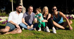 Lorna with her daughter Róisín and friends in Hyde Park in Sydney: 'I will always remember what my friends and the wider Irish community have done for me.'
