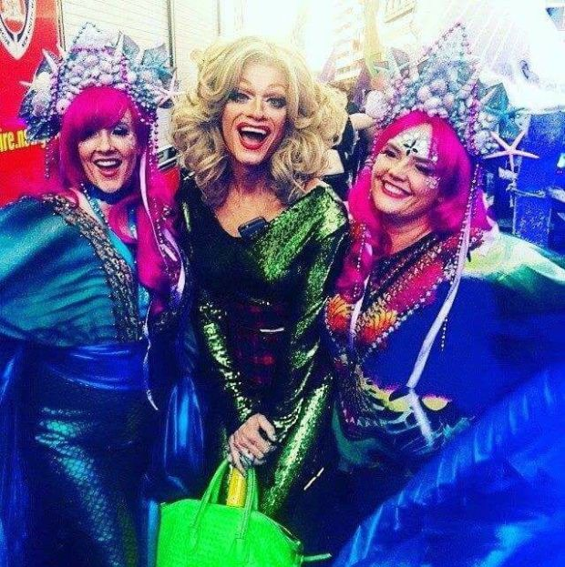 Lorna Markey Hennessy with her friend Nicola Freyne and Panti Bliss at the Sydney Mardi Gras in 2016.
