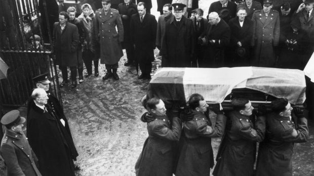 1965: President Éamon de Valera attends the funeral of Roger Casement (1864 - 1916). Casement's remains were removed from England and reburied in Dublin's Glasnevin Cemetery. Photograoph: McMahon/Central Press/Getty Images