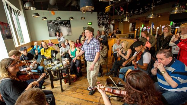 Michael Hopkins from Connemara dancing at the the Fleadh Cheoil in 2015. Photograph: James Connolly