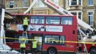 Emergency services at the scene in Lavender Hill, southwest London, after a bus  crashed. Photograph: Lauren Hurley/PA