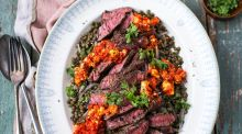 Griddled beef with htipiti spread and lentil salad