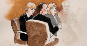 A sketch of Taylor Swift and her attorneys in Denver Federal Court during the trial. Photograph: Jeff Kandyba/Reuters