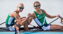 Ireland's  Claire Lambe and Sinead Lynch celebrate qualifying for the lightweight double sculls final at  the Olympics in Rio. Photograph: Morgan Treacy/Inpho
