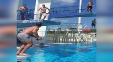 Saracens rugby stars pull off impressive diving board passing drill