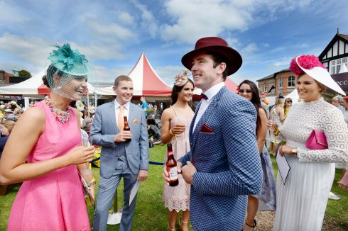 Claire Corkery (Cork), James O'Reilly, Melissa Buttimer, Blayne Sheehan (Allihies), Mary Ellen Buttimer and Siobhan Hooley entering the best dressed competition during Ladies Day at the Dublin Horse Show at the RDS. Photograph: Alan Betson/The Irish Times