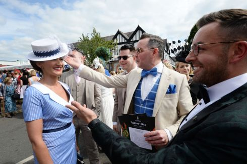 Derek Montgomery (Mullingar), Mike McCarthy (Blessington), Paul Carroll and Stuart Montgomery (Mullingar)  entering the best dressed competition on Ladies Day. Photograph: Alan Betson/The Irish Times