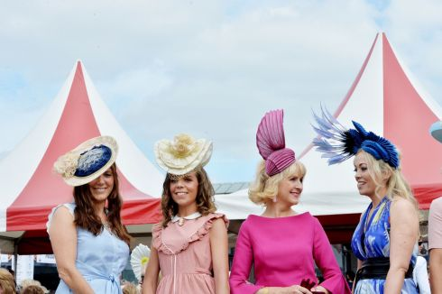 Orla Cahill and Triona Cahill (Maynooth), Geraldine Shalvey  (Foxrock) and Jean Sorohan (Cavan) on Ladies Day. Photograph: Alan Betson/The Irish Times
