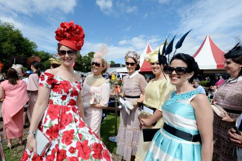 Jenny O'Farrell (Cashel), Grainne Alexander (Sallins), Hannah Crosse, Aisling Connolly (Tipperary) and Triona Crosse (Tipperary) at Ladies Day.  Photograph: Alan Betson/The Irish Times