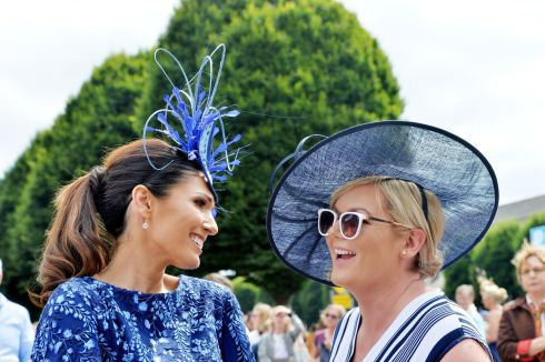 Ladies in blue entering the best dressed competition at the Dublin Horse Show. Photograph: Alan Betson/The Irish Times
