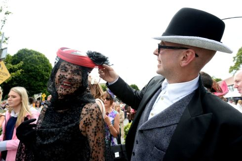 Sophie Caiillaud (Leitrim) and David Balintine (Roscommon) at Ladies Day.  Photograph: Alan Betson/The Irish Times