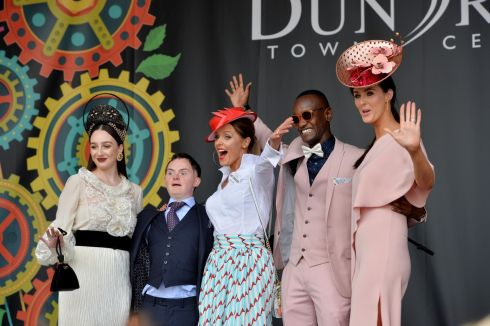 "Kaela Keegan (Longford), winner of the Great Lengths Most Creative Hat prize; Brian Kidd (Wexford), winner of  Style with Attitude;  Aoibheann McMonagle (Falcarragh, Co Donegal), winner of the Dundrum Town Centre Best Dressed Lady; Everton Tadeu Da Silva (Brazil), winner of Louis Copeland & Sons Best Dressed Man, and Martina O'Donovan (Kinvara, Co Galway), winner of the Longines ""Elegeance is an Attitude"" event at Ladies Day. Photograph: Alan Betson/The Irish Times"