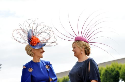 Emer Kilroy (Athlone) and Ailish McManus (Athlone) entering the best dressed competition. Photograph: Alan Betson/The Irish Times