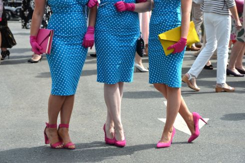 Harmonised shoes: Kerry Ann Rowan, Allison Saul and Kate Donohoe from the Apple Blossom group, in fancy co-ordinated footwear. Photograph: Alan Betson/The Irish Times