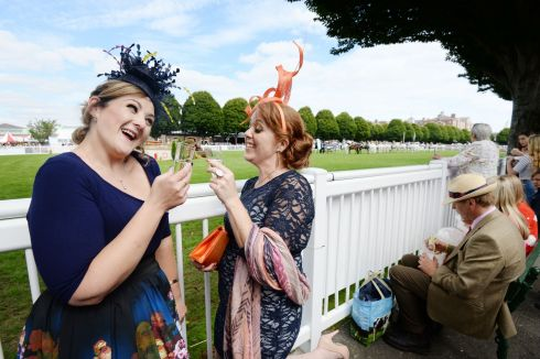 Maeve Scully and  Heather Strickland (Drogheda) enjoying Ladies Day. Photograph: Alan Betson/The Irish Times