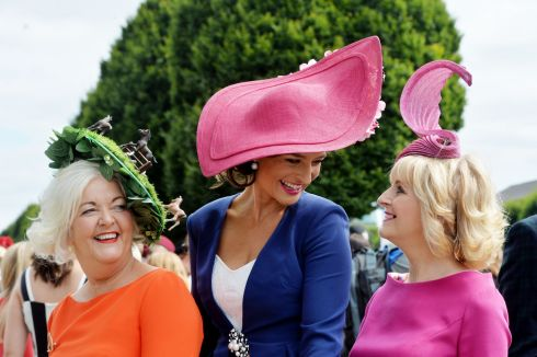 Mary O'Halloran, Aoife O'Hanlon and Geraldine Shalvey from Finglas, Galway and Foxrock at the Dublin Horse Show. Photograph: Alan Betson/The Irish Times