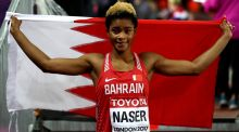 Salwa Eid Naser of Bahrain celebrates after winning silver in the Women's 400 metres at the World Athletics Championships in London. Photograph:  Alexander Hassenstein/Getty Images