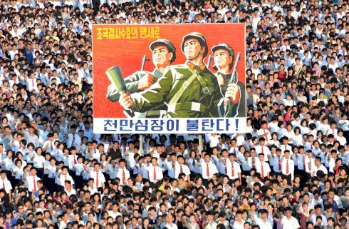 MASS RALLY: A mass rally at Kim Il Sung Square, Pyongyang, in support of the North Korean government, amid heightened tensions with the US. Photograph: KCNA/via Reuters