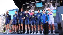 Acqua Blue Sport's Adam Blythe, Matthew Brammeier, Mark Christian, Conor Dunne, Andreew Fenn, Daniel Pearsons and Larry Warbasse. Photograph: KT/Tim  de Waele/Corbis via Getty Cycling
