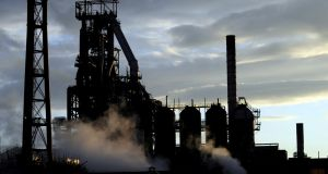 The Tata Steel plant is seen at sunset in Port Talbot, South Wales