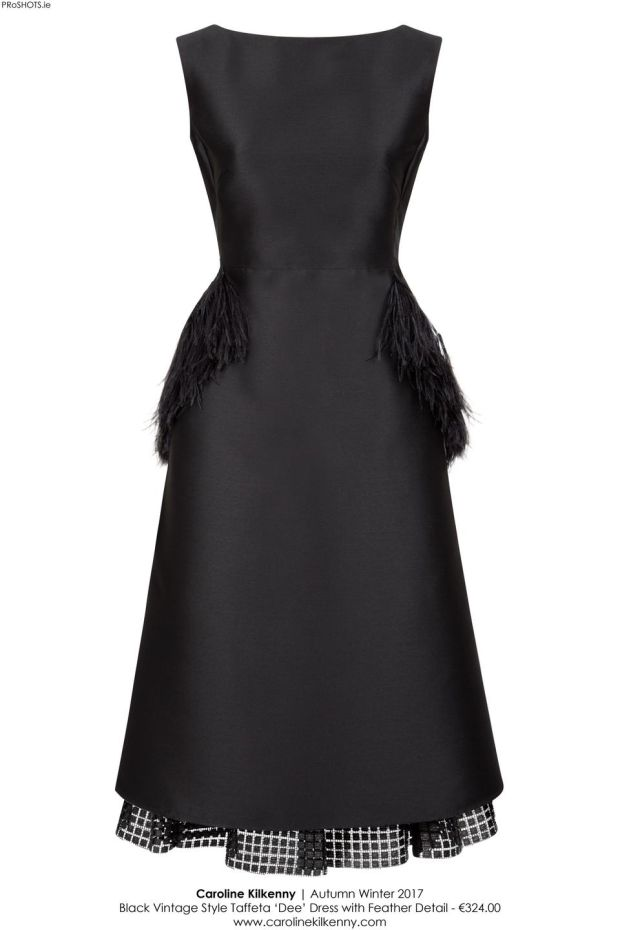 The Dee dress, a little show-stopping vintage-style black taffeta dress with feathers for €324.