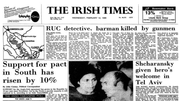 The Irish Times front page on February 12th 1986.