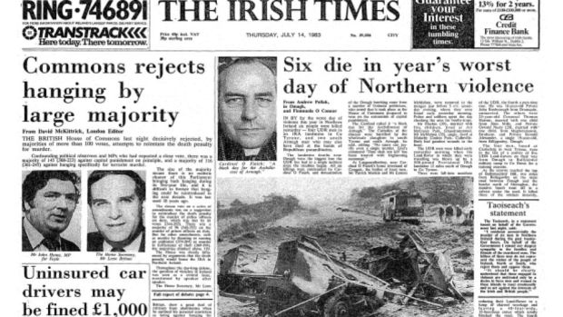 The Irish Times front page on July 14th, 1983.