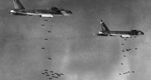US B52 drop bombs over a Viet Cong controlled area in South Vietnam in 1965. America lost 60,000 military in Vietnam. Nearly two million Vietnamese civilians were killed. File photograph: AFP/Getty Images