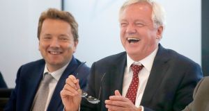 Secretary of State for the Department of Exiting the European Union David Davis (right). In a statement on Sunday, the UK's department for exiting the European Union said intense work had been underway to prepare for formal talks on the UK's future relationship with the EU