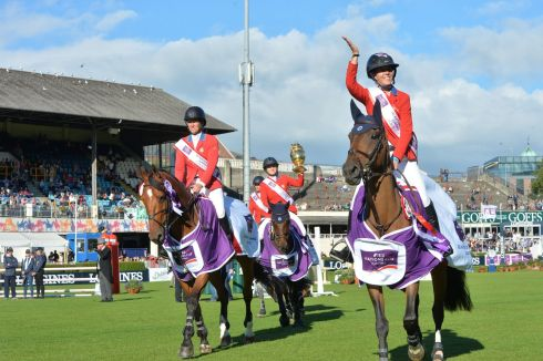 HORSEY SET: The US team celebrate winning the Aga Khan trophy in the FEI Nations Cup, at the RDS in Dublin. Photograph: Alan Betson/The Irish Times