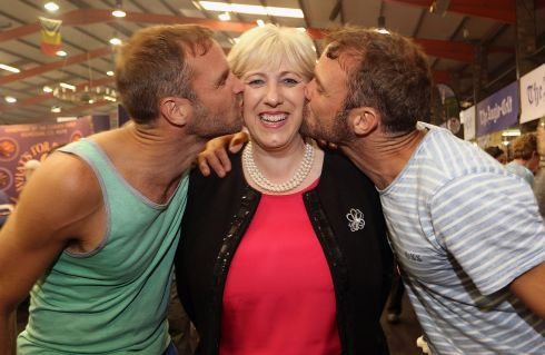 TWIN BEAKS: David and Stephen Flynn of The Happy Pear greet Minister for Arts Heather Humphreys at the Taste of Cavan food festival. Photograph: Lorraine Teevan
