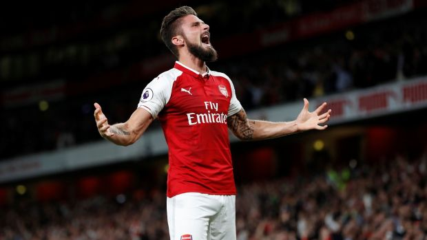 Arsenal's Olivier Giroud celebrates scoring the winning goal. Photograph: Paul Childs/Reuters