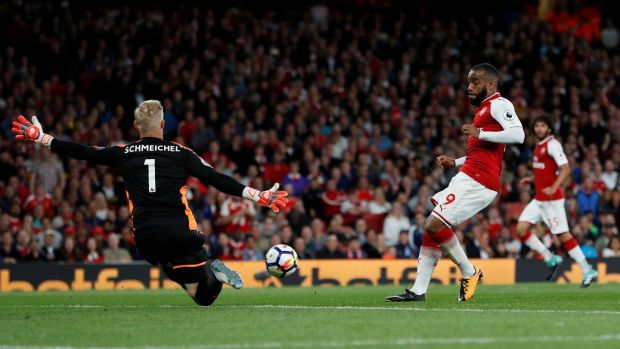 Leicester City's Kasper Schmeichel saves a shot from Arsenal's Alexandre Lacazette. Photograph: Paul Childs/Reuters