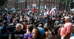 White nationalists are met by a group of counter-protesters in Charlottesville, Virginia, US. Photograph: Joshua Roberts/Reuters
