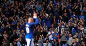 Everton's Wayne Rooney applauds fans after the match. Photo: Lee Smith/Reuters