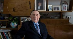 File image of Holocaust survivor Yisrael Kristal  at his home in  Haifa, Israel. Photograph: Abir Sultan/EPA