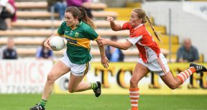 Anna Galvin of Kerry in action against Marian McGuinness of Armagh. Photo: Matt Browne/Sportsfile