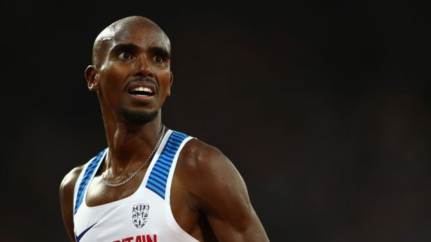 Mo Farah of Great Britain reacts after finishing second in the Men's 5000 Metres final. Photo: Michael Steele/Getty Images